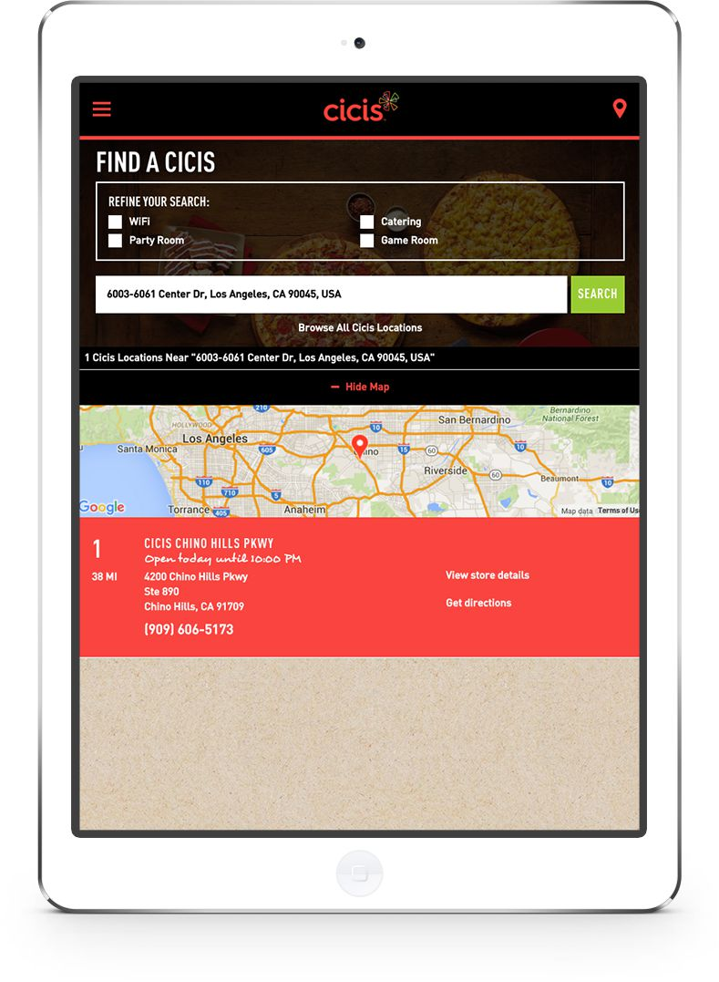 Cicis Store Locator – Tablet View