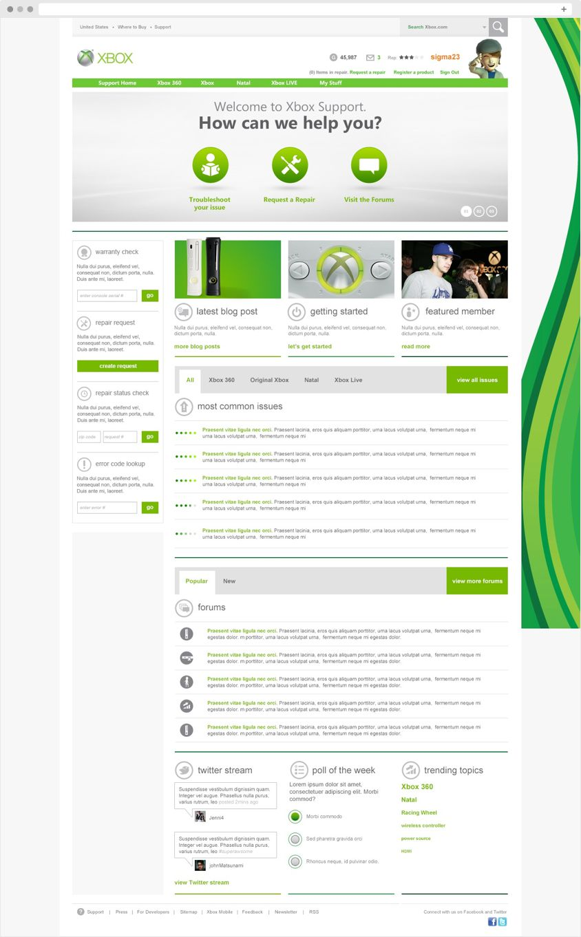 Xbox Support Home Page